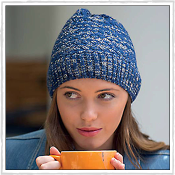 RL299 2 woman hat. Salt and Pepper Knitted Beanie. Material: 100% acrylic.