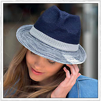 RL320 woman hat. Wash n' Wear Colourblock Trilby. Material: 100% polyester.