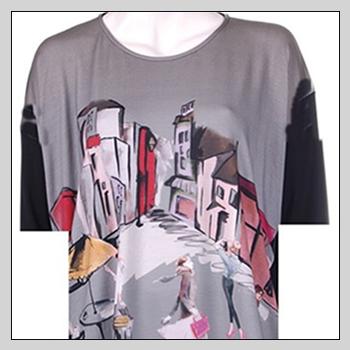 5505d woman t-shirt. Composition: 94% viscose (VI) and 6% elastam (EA).