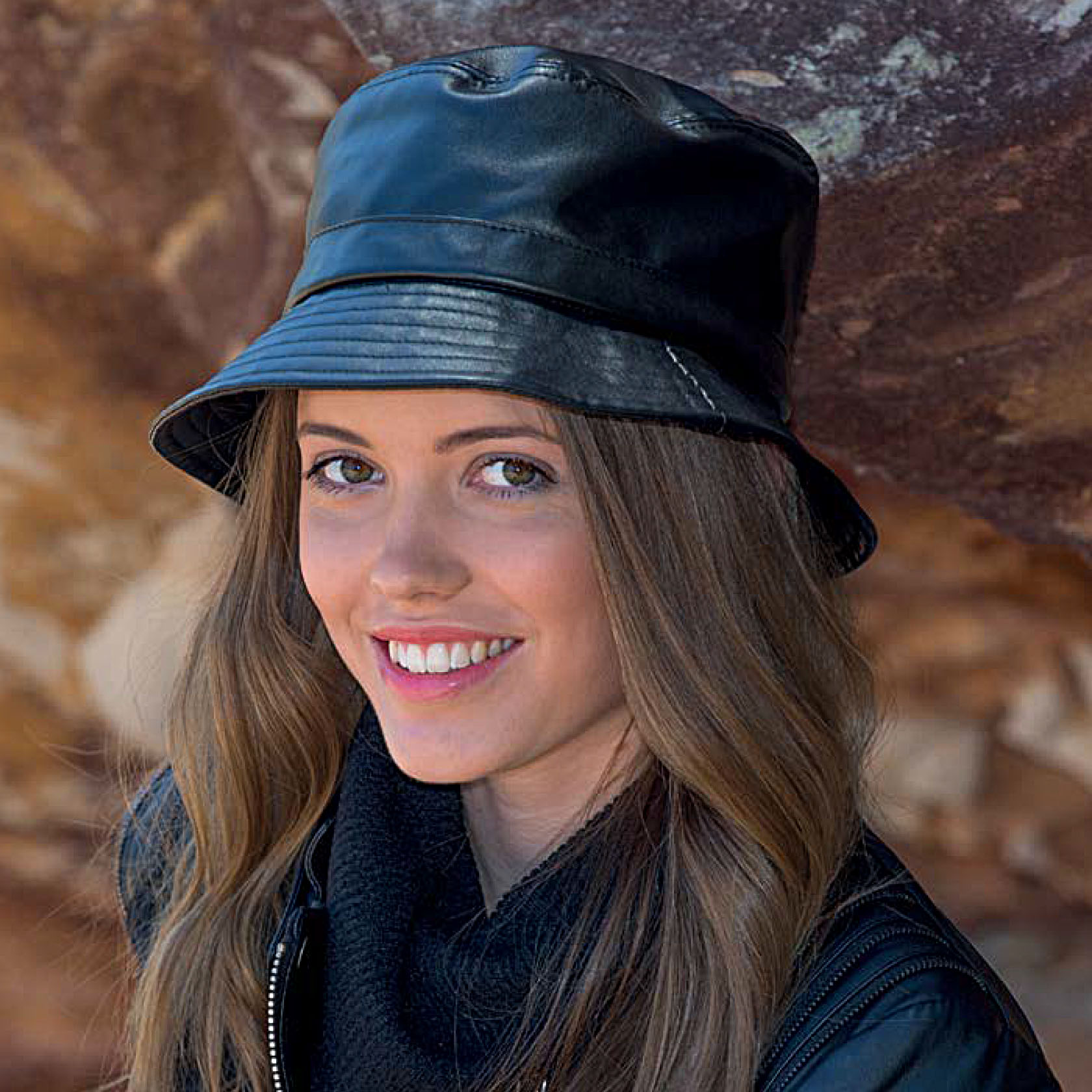 BD221 adelle faux leather bucket hat. On trend structured black faux leather bucket style hat.