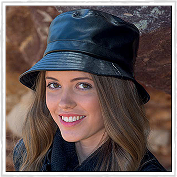 BD221 adelle faux leather bucket hat. Material: Faux leather.