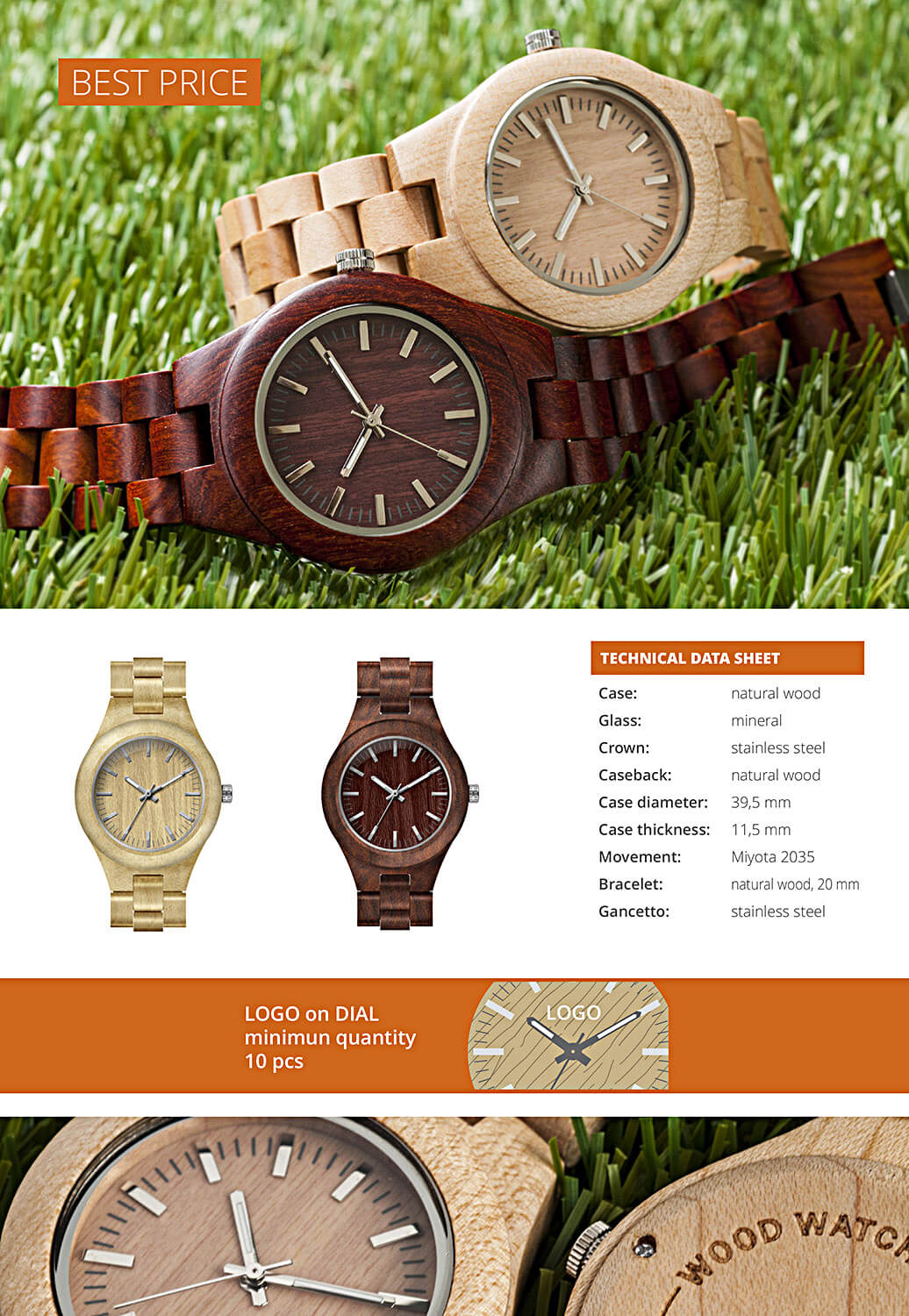 9801WE3WDBSL and 9801WE3WIVSL watch Greenwood. Case: stainless steel with polished and brushed finishing - Water resistant: 5 ATM. Glass: mineral.