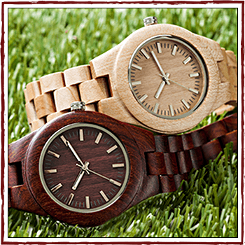 Swiss watchs - Case and bracelet: natural wood.