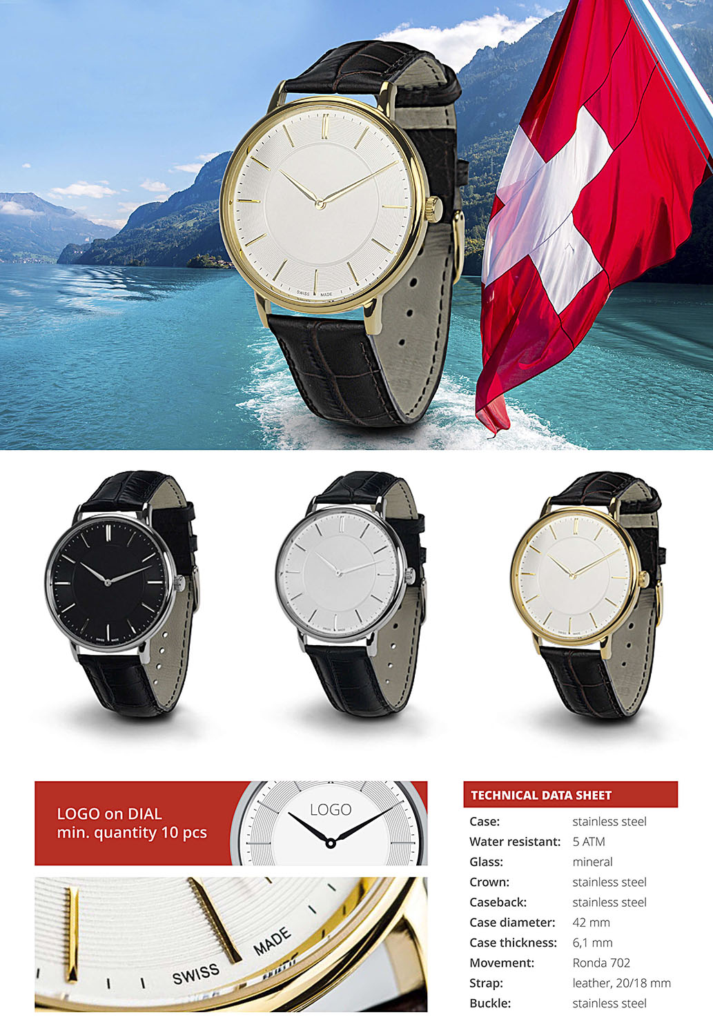 Watch Livigno. Glass: mineral, Crown: stainless steel and wter resistant