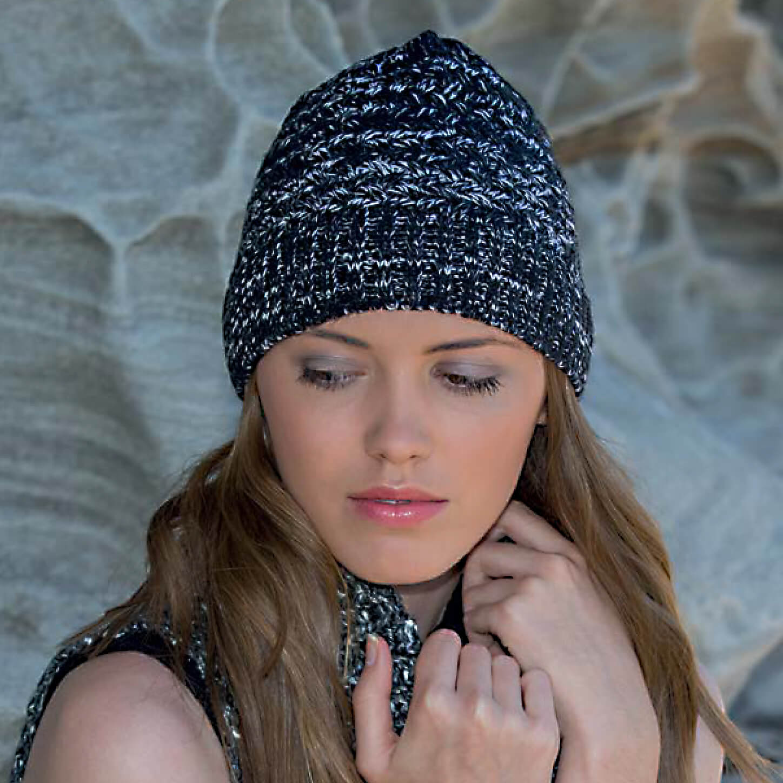 RL299 woman hat. Salt and Pepper Knitted Beanie