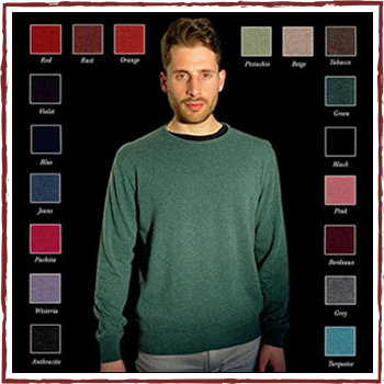 Man sweater - Material: 95% cashmere (WS) and 5% other fibres (AF) or 100% cashmere (WS)