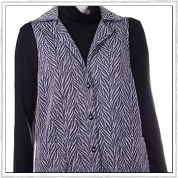 5526 woman waistcoat. Fibers: 71% polyester (PL), 22% metal fibre (ME) and 7% elastam (EA).