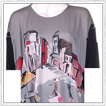 5505d woman t-shirt. Composition: 94% viscose (VI) and 6% elastam (EA).