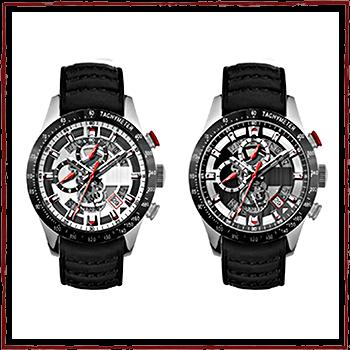 Швейцарское Watchs. Корпус: нержавеющая сталь. Браслет: кожа. Водонепроницаемость: 5 АТМ.